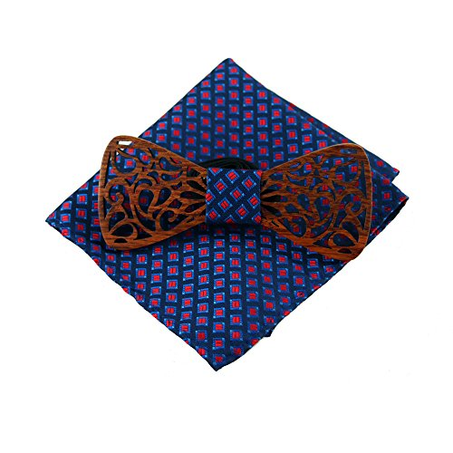 Amzchoice Classic Handmade Mens Wood Bow Tie with Matching Pocket Square Sets (1)
