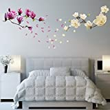 Wall Stickers Small White Magnolia with Magnolia Flowers Removable Self-Adhesive Wall Mural Art Home Living Room Decoration Décor Restaurant Cafe Hotel Nursery Decoration
