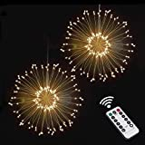 Fireworks String Lights Battery Powered,VanRayal 8 Modes 120 LED Copper Fairy Starburst Light with Timer Hanging On Eave,Window,Outdoor Decoration for Garden,Patio, Room,Wedding,Party,Banquet,Holiday