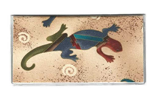 Tickled Pink Boutique Womens Southwest Gecko Lizard Checkbook Cover Brown
