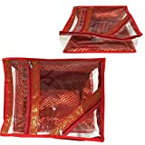 5 Pack / LARGE SARI-SAREE/LEHENGA COVER-BAGS-PACKAGING-STORAGE ONE SIDE CLOTH CLEAR (Red)