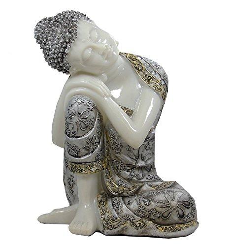 Thai Art - DharmaObjects Napping Buddha Thai Ivory Good Luck Asian Art Decor Statue