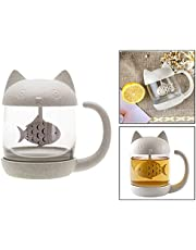 OFKPO Novelty Cat Glass Tea Cup Water Coffee Bottle with Infuser Strainer Filter 250ML Ideal Christmas Birthday Gift