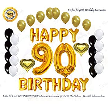 PartyPlace Golden Happy 90th Birthday Decorations Bundle By Helium Large 40Inch 90 Number Balloon 16Inch Letter Foil And 2 Heart Shape Balloons