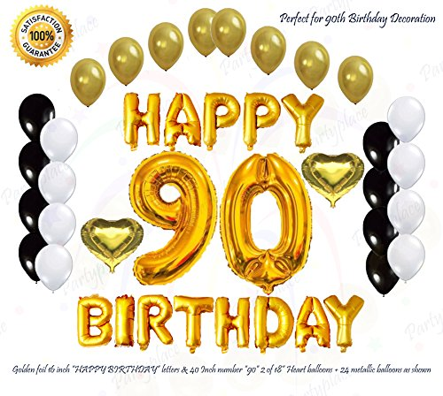 PartyPlace Golden Happy 90th Birthday Decorations Bundle by, Helium Large 40'Inch 90 Number balloon, 16Inch Letter Foil and 2 Heart Shape balloons. FREE Bonus-Metallic Balloons (90th Birthday)