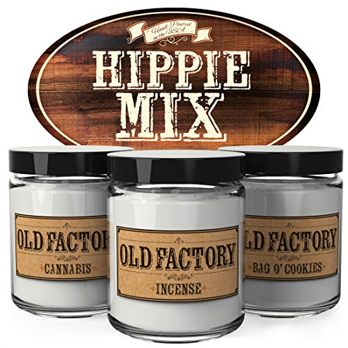 Old Factory Scented Candles - Hippie Mix - Set of 3: Cannabis, Incense, and Bag O Cookies - 3 x 4-Ounce Soy Candles - Each Votive Candle is Handmade in the USA with only the Best Fragrance Oils