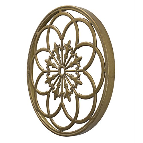 Kate and Laurel Ondelette Round Medallion Wood Wall Art Plaque, 32 inch Diameter, Gold by Kate and Laurel (Image #1)