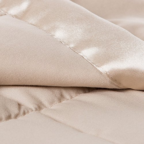 Solid Colored Microfiber Down Alternative-Filled Hypoallergenic Blanket with Satin Edging (king, khaki)