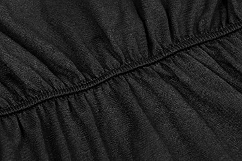 Off Summer Party Ruffle Dress Beach Maxi EBBiE Short Sleeves for The Women Zow with Shoulder Pockets Casual Black Side Split ZwxB5zSq