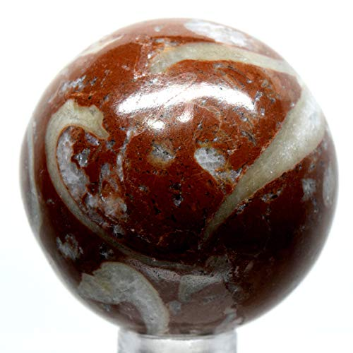 (41mm Red Jasper Agate Sphere Natural Sparkling Fossil Crystal Polished Mineral Stone Ball - Morocco +)