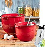 Gift Included- Country Farmhouse Kitchen Oversized Mixing Bowls Set of 2 Red + FREE Bonus Water Bottle by Home Cricket Homecricket
