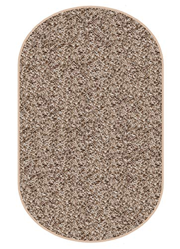 Koeckritz Oval 3 X5 Indoor Frieze Shag Area Rug – Bramble II- Plush Textured Carpet with Premium Bound Polyester Edges.