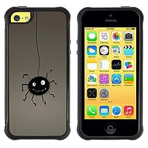 iKiki Tech / Estuche rígido - Spider Black Cute Hanging Cartoon Art Drawing - Apple iPhone 5C