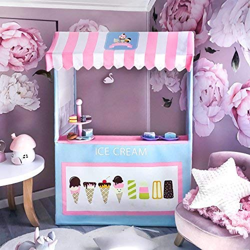 Tiny Land Ice Cream Cart for Kids with Play Food (4 pcs)- Colorful Toddler Business Cart for Child Development and Learning (49 Inches Tall) - Children Play Tent and Indoor Playhouse ()