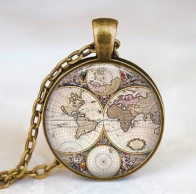 Amazon world map necklace world map pendant world map jewelry world map necklace world map pendant world map jewelry gumiabroncs Choice Image