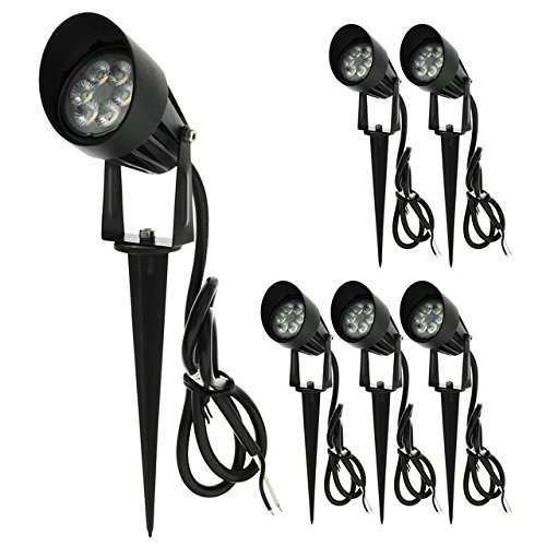 LEDwholesalers Low Voltage LED Outdoor Landscape Garden Metal Discern Light Fixture with Built-In Shade 12V AC/DC 7W (6-Pack), Warm White, 3753WWx6