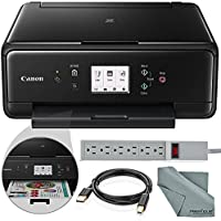 Canon PIXMA TS6020 Wireless All-in-One Inkjet Printer (Black) and Accessory Bundle with Fibertique Cloth