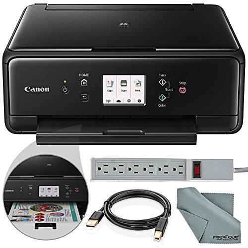 Canon PIXMA TS6020 Wireless All-in-One Inkjet Printer (Black) and Accessory Bundle with Fibertique Cloth