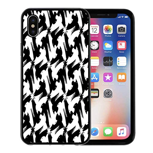 - Semtomn Phone Case for Apple iPhone Xs case,Animal Houndstooth Pied De Poule Griffin Black and White Pattern Classic Escher Bird for iPhone X Case,Rubber Border Protective Case,Black