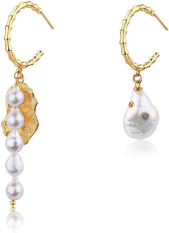 Pendientes de mujer Pendientes de la vendimia barroca pendientes de la perla asimétrica simple y elegante de las mujeres pendientes única y exquisita de cumpleaños y los regalos de San Valentín para r