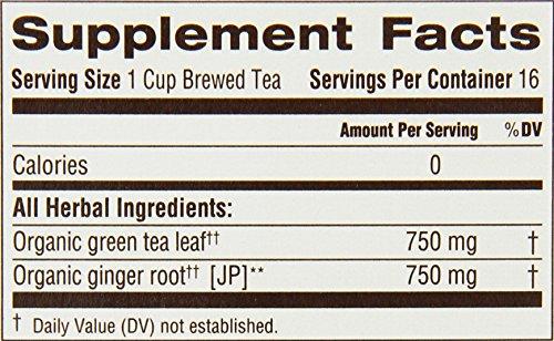 Traditional Medicinals Organic Green Tea Ginger Tea, 16 Tea Bags (Pack of 6)