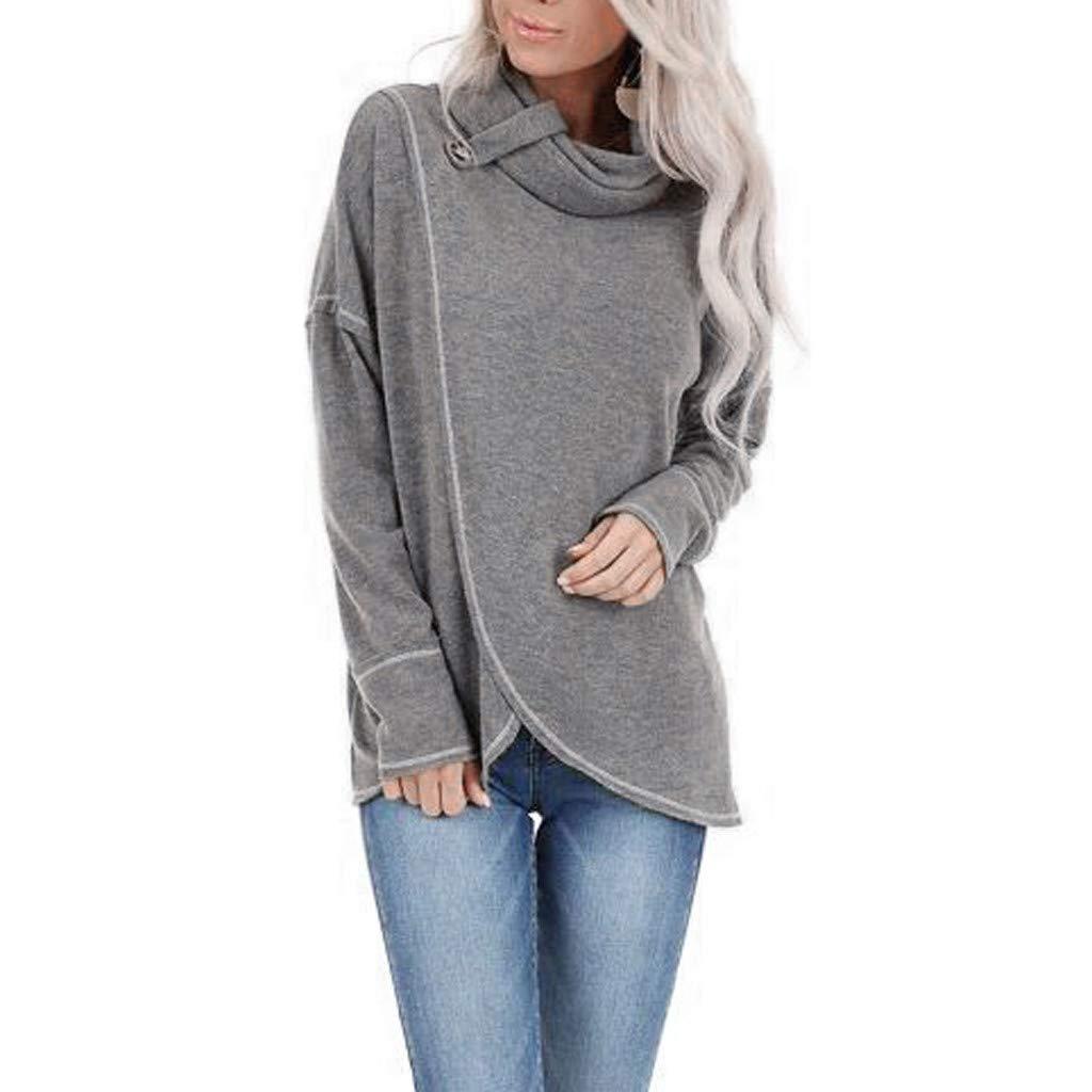 ANJUNIE Women Turtleneck Scarf Collar Pullover Pure Color Irregularity Blouse Tops Sweatshirt