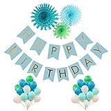 44pcs Birthday Decoration Kit - HAPPY BIRTHDAY BANNER blue Gold Foiled ...