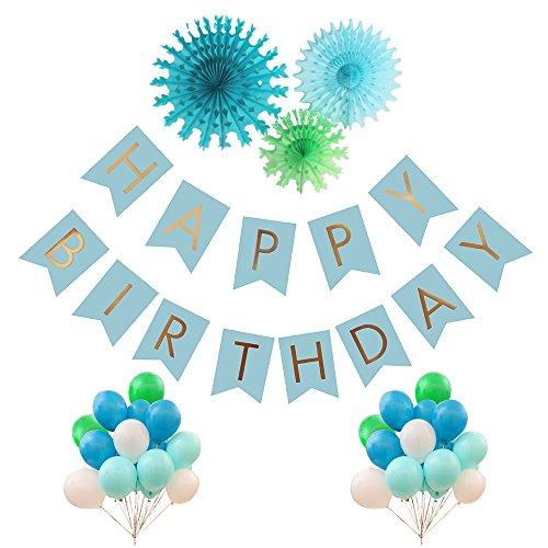 [44pcs Birthday Decoration Kit - HAPPY BIRTHDAY BANNER blue Gold Foiled Bunting Flag Garland,3pcs Paper Paper Fans, 40pcs Balloons Balloons] (Happy Birthday Party Kit)