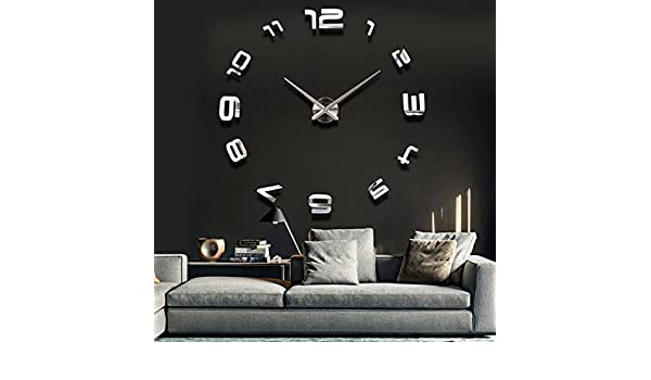 Amazon.com: BML 3D Large Sliver Modern DIY Home Decor Mirror Wall Clock Sticker//Gran astilla 3d pegatina reloj moderno espejo de pared decoración para el ...