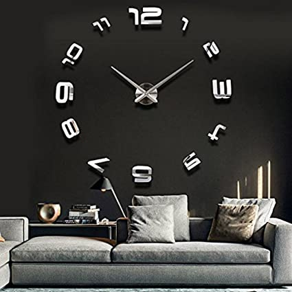 BML 3D Large Sliver Modern DIY Home Decor Mirror Wall Clock Sticker//Gran astilla
