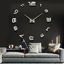 BML 3D Large Sliver Modern DIY Home Decor Mirror Wall Clock Sticker//Gran astilla 3d pegatina reloj moderno espejo de pared decoración para el hogar bricolaje