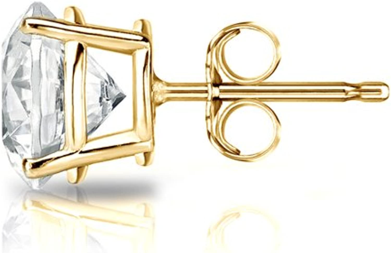 J-K, I1-I2 18k Yellow Gold 4-Prong Basket Round Diamond SINGLE STUD Earring 1//8 cttw