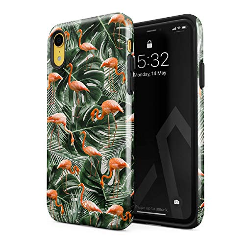 - BURGA Phone Case Compatible with iPhone XR Flamingo Green Palm Trees Leaf Tropical Leaves Exotic Bird Summer Heavy Duty Shockproof Dual Layer Hard Shell + Silicone Protective Cover