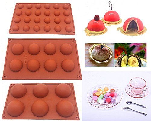 Silicone Molds Chocolate Truffle, Candy and Gummy Mold 6-Cavity Round 8 Cavity Round 24 Cavity Round for Cake Decoration Jelly Pudding Candy Making,Set of 3 ()