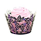 DEESEE(TM) 50PCS Laser Cut Cupcake Wrapper Liner Baking Cup Butterfly Hollow Out Paper Cake Cup DIY Cupcake (Purple)
