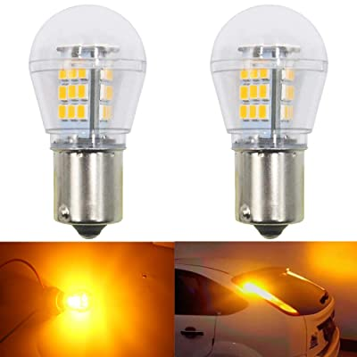 AMAZENAR 2-Pack 1056 BAU15S 7507 12496 5009 PY21W Extremely Bright Amber/Yellow LED Light 9-30V-DC, 2835 33 SMD Replacement Bulbs for Turn Signal Lights Blinker: Automotive