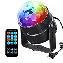 DJ Stage Light , YESSHOW Party RGB LED Lights Disco Mini Magic Crystal Ball Strobe lamp Sound Activated Halloween Christmas Lighting with Remote Control for DJ Bar Karaoke Xmas Wedding Show Club Pub
