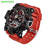 Hot Sale !Siviki Colourful Sport Watch,Luxury Double Display Cold Light Electronic Waterproof Wrist Watch (Red)