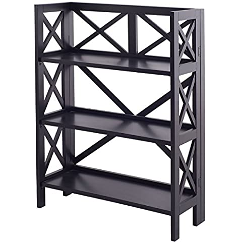 Bookshelf 3 Tier Stacking Folding Book Case Storage Home Office Furniture Black - 3 Shelf Stacking Bookcase