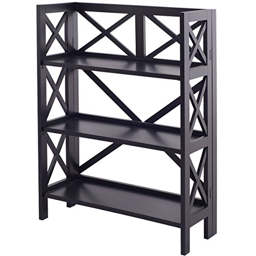 Bookshelf 3 Tier Stacking Folding Book Case Storage Home Office Furniture Black (Bookshelf Stars Stacking)