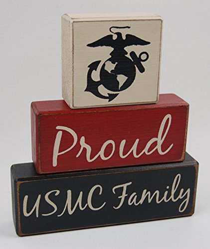 Primitive Country Wood Stacking Sign Blocks Military Decor Proud USMC Family Army-Navy-Coast Guard-Marine Corps