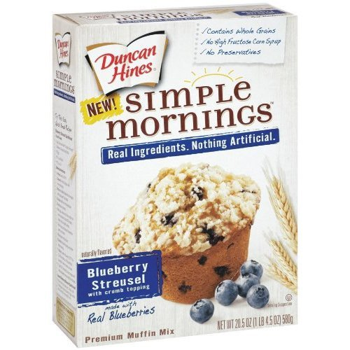Duncan Hines Simple Mornings Whole Grain Blueberry Streusel Muffin Mix 20.5 oz (Pack of 5)