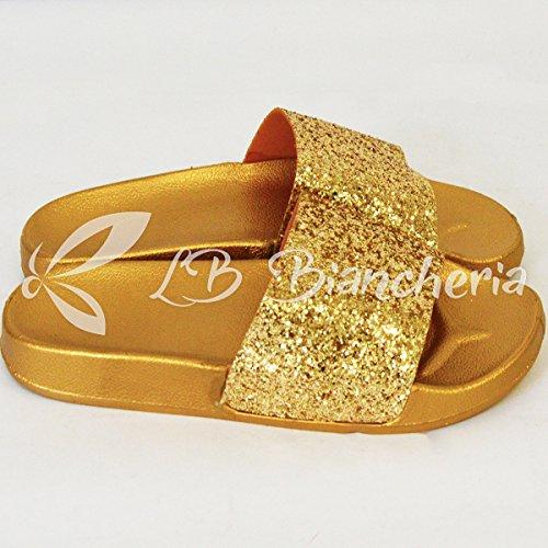 Ciabatte Pantofole Sandali Con Oro Glitter 39 N Ciabatta p R Donna Mare Estivi wOB4qUaa5
