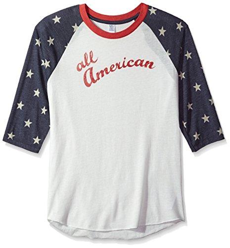 Alternative Men's Baseball Tee, Stars All American, XL (Henley Baseball Tee)