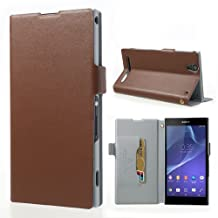 Topratesell Genuine Leather Wallet Case for Sony Xperia T2 Ultra D5303 D5306 / Ultra dual D5322 with Card Slot (Brown)