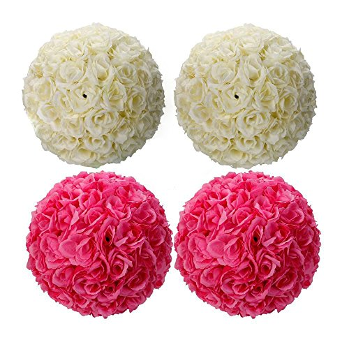 4 Kissing X Balls (GHP Pack of 4 Flower Kissing Ball for Wedding Decor Ivory - 9.84/25cm Inch)