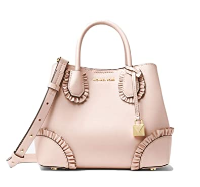 4e93c58676d3 Amazon.com  MICHAEL Michael Kors Mercer Gallery Small Ruffled Leather  Satchel - Soft Pink  Shoes