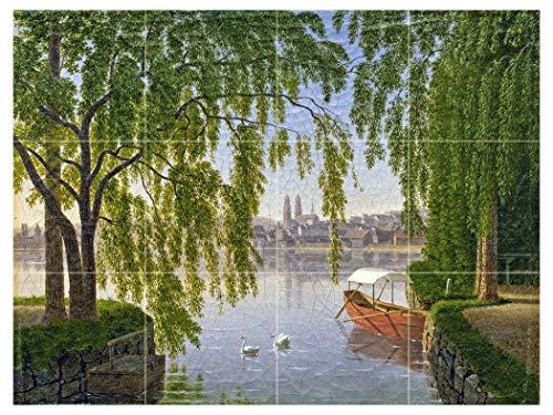 Blick VOM LINKEN SEEUFER AUF DIE Stadt Zurich UND DAS GROSSMUNSTER by Johann Jakob Biedermann Tile Mural Kitchen Bathroom Wall Backsplash Behind Stove Range Sink Splashback 4x3 4