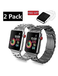 (Paquete de 2) correa de Apple Watch acero inoxidable, GP iWatch pulsera de correas de metal link para Apple reloj Series 3, Series 2, Series 1, deportes y edición, W cierre de mariposa, Plus 2 Protector de visualización