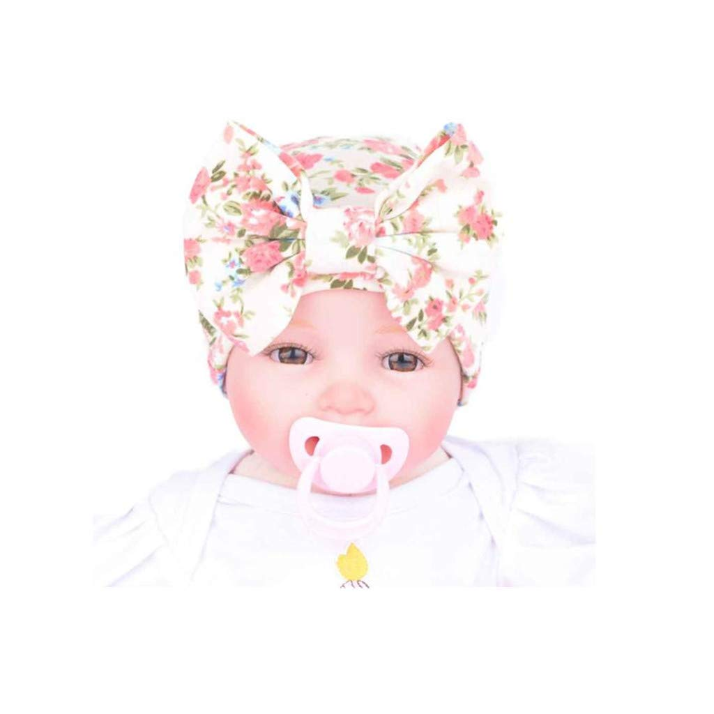 Easong Newborn Hospital Hat Infant Baby Hat Cap with Big Bow Baby Girls Elastic Headbands Hair Accessories